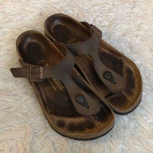Birkenstock Gizen thong slip on sandals brown shoe